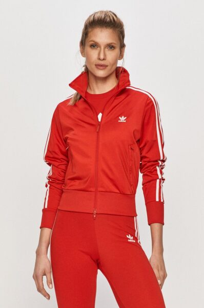 adidas Originals - Bluza, Rosu, Incheiere cu fermoar, Fason drept, Finisaj din manseta