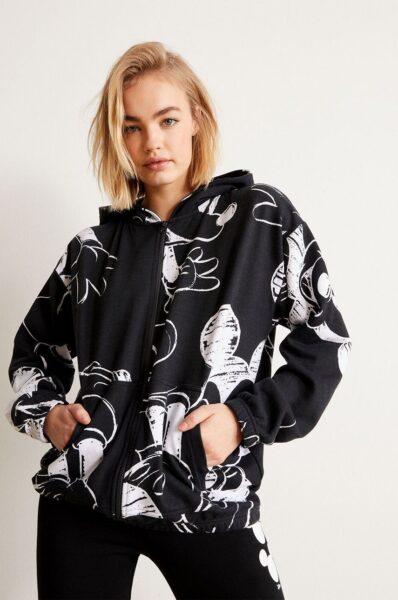Undiz - Bluza MICKGRIFFIZ, Negru, Fason drept, Model cu gluga, Incheiere cu fermoar, Linia umerilor lasata