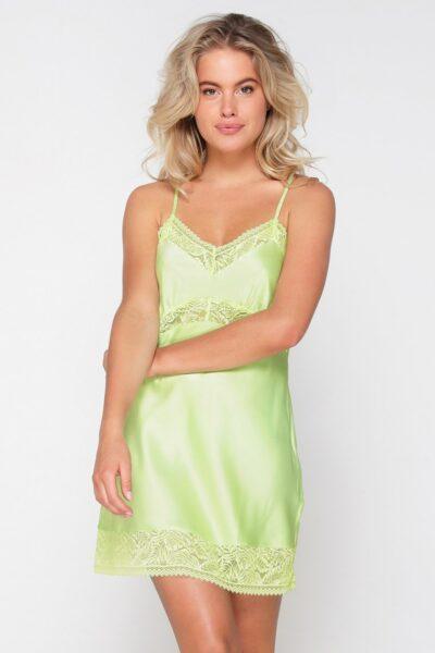 Camasa de noapte de lux Butterfly, Verde, Satin, Dantela