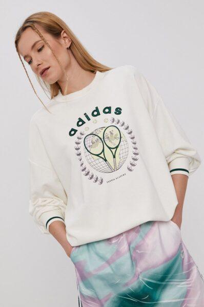 adidas Originals - Bluza GRAPHIC, Alb, Model lejer, Decolteu rotund, Linia umerilor lasata, Material tricotat, flexibil si flexibil