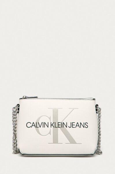 Calvin Klein Jeans - Poseta, Alb, Incheiere cu fermoar, Curea lunga, nedetasabila fara regla