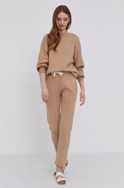 Answear Lab - Bluza cu certificat OEKO din colectia limitata Ethical Wardrobe, Bej, Fason lejer, Maneci de tip kimono, Linia umerilor lasata, Decolteu rotund