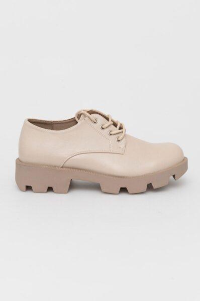 Answear Lab - Pantof, Bej, Cutie rotunda, intarita, Interior confortabil, Spatele calcaiului peternic rigidizat