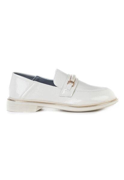 MUSK - Pantofi loafer de piele ecologica lacuita, Alb, Piele ecologica, Varf rotund