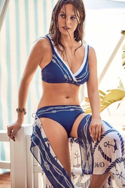 Pareo plajă Aphrodite, Albastru-alb, Panza