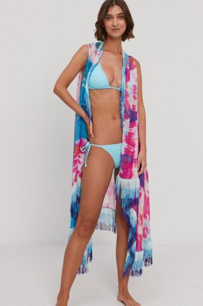 Desigual - Camasa de plaja, Multicolor, Model cu ciucuri decorativi, Stofa subtire, inflexibila, Tesatura ornamentata