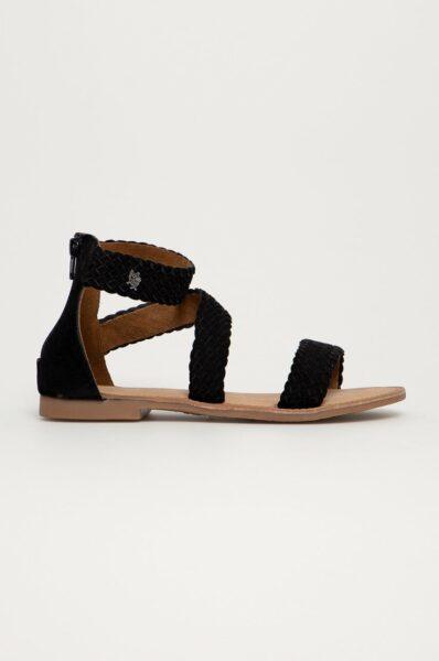 Mexx - Sandale din piele intoarsa Eda, Negru, Material neted,Talpa din guma, Interior din piele