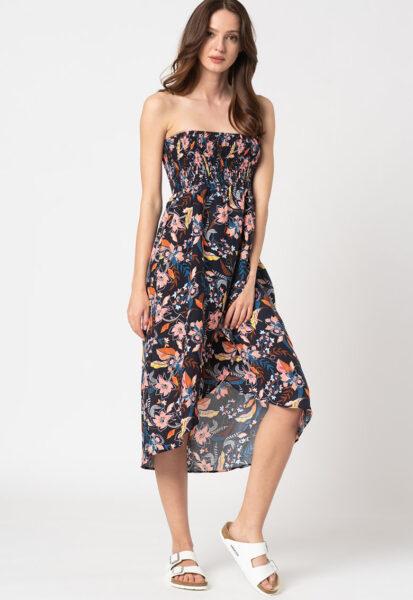 ESPRIT Bodywear - Rochie de plaja cu imprimeu Selina, Bleumarin inchis/ Roz/ Alb, Imprimeu floral
