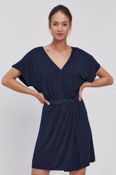 Emporio Armani - Rochie de plaja, Bleumarin, Fason drept, Decolteu rotund, Material tricot flexibil si subtire