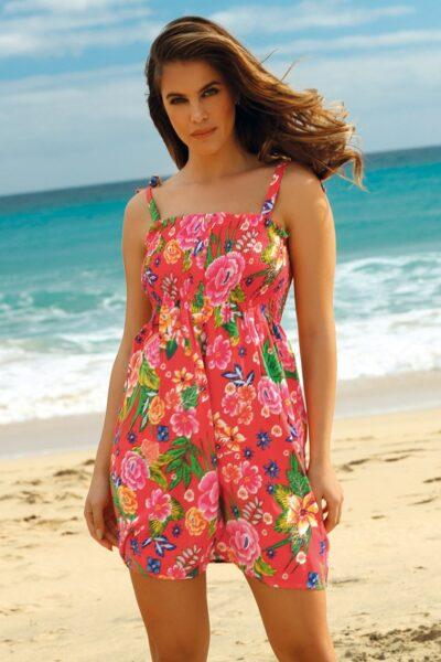 Rochie de plaja Leafy Coral,Panza, Inchidere cu nasturi