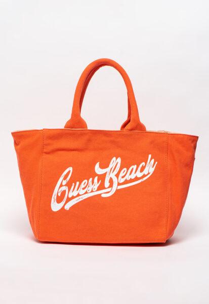 Guess - Geanta de plaja, cu imprimeu logo, Oranj - alb