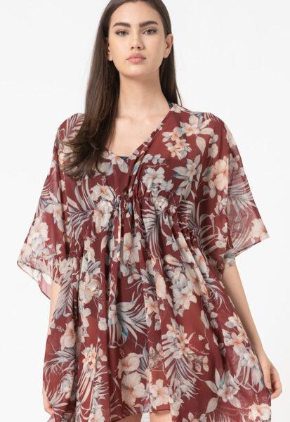 Emporio Armani Underwear - Pareo de plaja cu imprimeu floral, Rosu, Sintetic, Floral