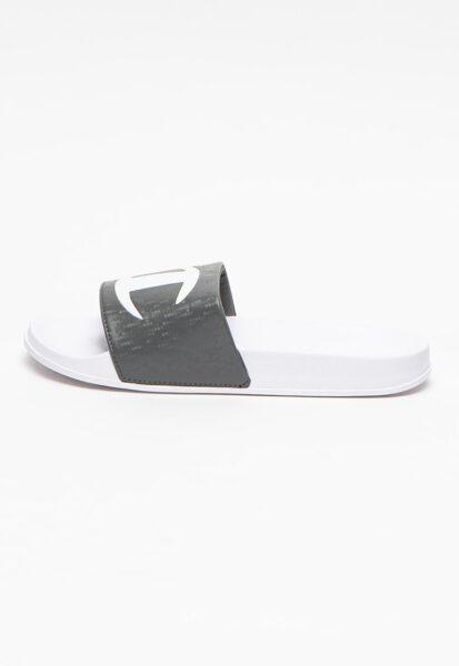 Champion - Papuci cu imprimeu logo Honey, Gri inchis, Alb, Casual, Poliuretan