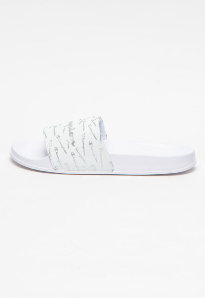 Champion - Papuci cu imprimeu logo Sylvia, Alb, Argintiu, Stil: casual, Material sintetic