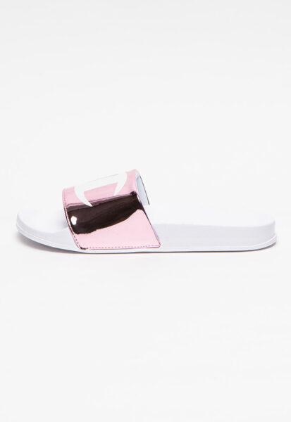 Champion - Papuci cu imprimeu logo Betty, Roz, Alb, Poliuretan, Casual