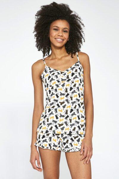 Pijama damă Cats, Multicolor, Tricot, Zona taliei cu elastic cusut