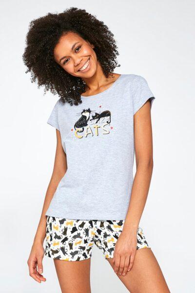 Pijama damă Lazy Cats, Multicolor, Pijama dama, Tricot, Tricou, Pantaloni scurti, Zona taliei cu elastic cusut