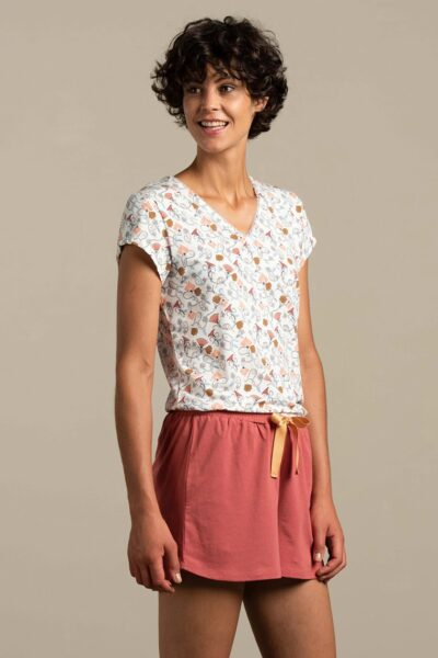 Pijama scurtă damă Hyacinth, Multicolor, Tricou, Pantaloni scurti, Snur in talie