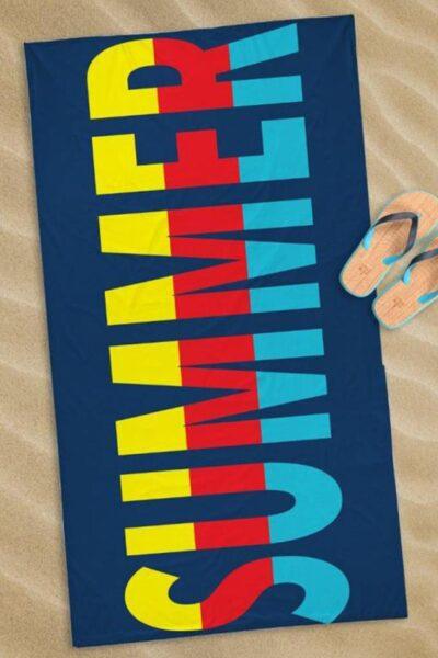 Prosop plajă Summer, Multicolor, Velur si material terry