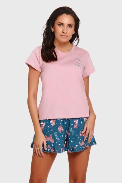 Pijama dama Pure Nature, din bumbac, Roz, Tricot, Tricou, Pantaloni scurti, Zona taliei cu elastic cusut