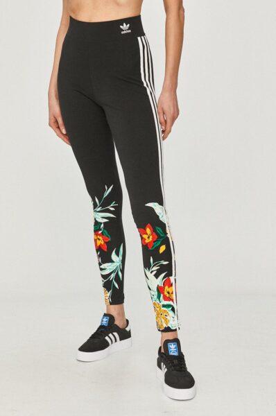 adidas Originals - Colanti, Negru, Talie inalta, Material tricot flexibil si subtire, Fason mulat, Model cu imprimeu