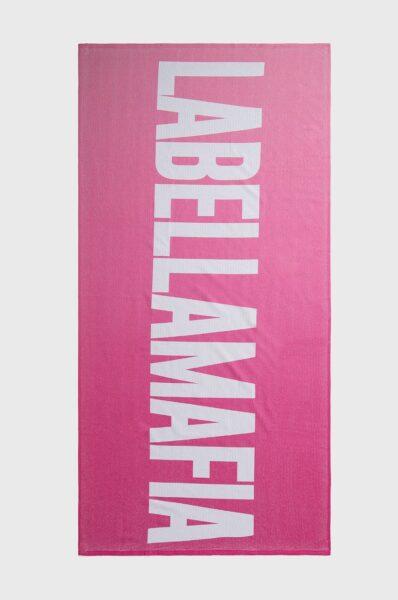 LaBellaMafia - Prosop, Roz, Model confectionat din material frotte ornamentat