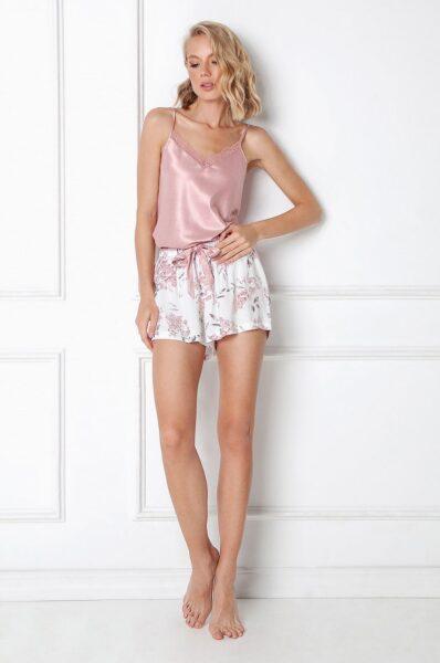 Aruelle - Pijama Demi, Roz, Fason drept, Model cu incheiere, Decolteu in V