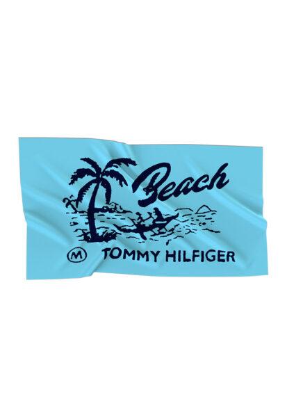 Tommy Hilfiger - Prosop de plaja cu logo si model grafic, Aqua, Bumbac