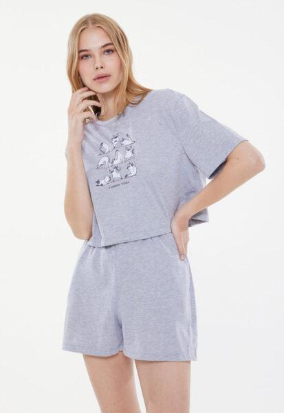 Trendyol - Pijama cu pantaloni scurti si imprimeu grafic, Gri melange, Albastru azur, Alb, Bumbac, Sintetic