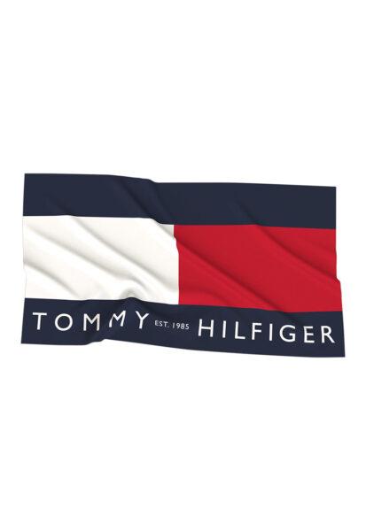 Tommy Hilfiger - Prosop de plaja cu logo, Bleumarin inchis, Alb, Rosu, Bumbac