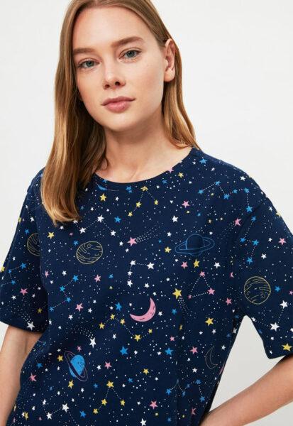 Trendyol - Pijama cu maneci scurte din jerseu cu imprimeu galaxie, Bleumarin, Bumbac