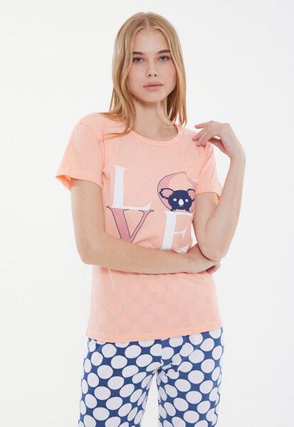 Trendyol - Pijama cu decolteu rotund si imprimeu, Roz deschis, Alb, Albastru, Bumbac