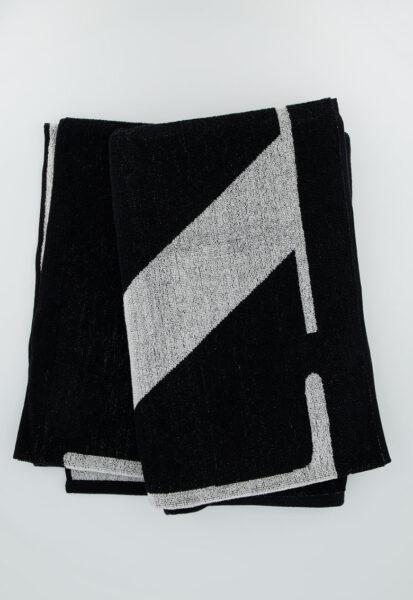 CALVIN KLEIN - Prosop unisex de plaja cu logo supradimensionat, Negru, Bumbac