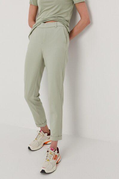 Vero Moda - Pantaloni, Verde, Fason drept, Buzunar oblic, Talie regulata