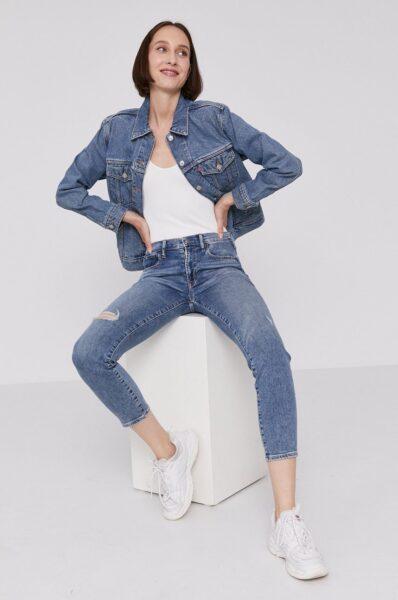 Levi's - Geaca jeans, Albastru, Fason drept, Buzunare oblice, Incheiere cu nasturi