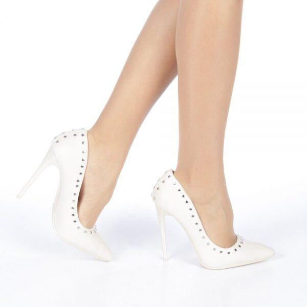 Pantofi stiletto Daiana nude, Alb, Vonfectionati din piele ecologica, Toc subtire cu aspect lucios