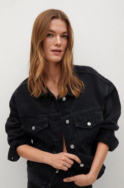 Mango - Geaca jeans RACHEL, Gri, Fason oversize, Linia umerilor lasata, Incheiere cu nasturi