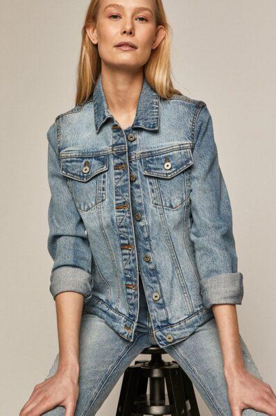 Medicine - Geaca jeans Denim, Albastru deschis, Fason drept, Incheiere cu nasturi, Buzunar pe piept
