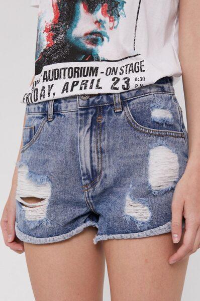 Medicine - Pantaloni scurti jeans Denim, Albastru deschis, Model mulat, Buzunare oblice, Talie regulata