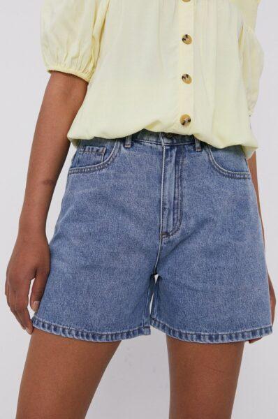 Medicine - Pantaloni scurti jeans Staycation, Albastru, Buzunare oblice, Talie inalta, Fason drept