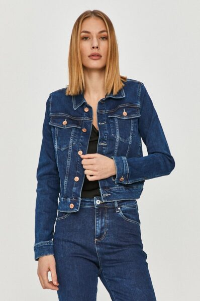 Guess - Geaca jeans, Bleumarin, Model neizolat fara captuseala, Fason drept, Buzunare oblice exterioare