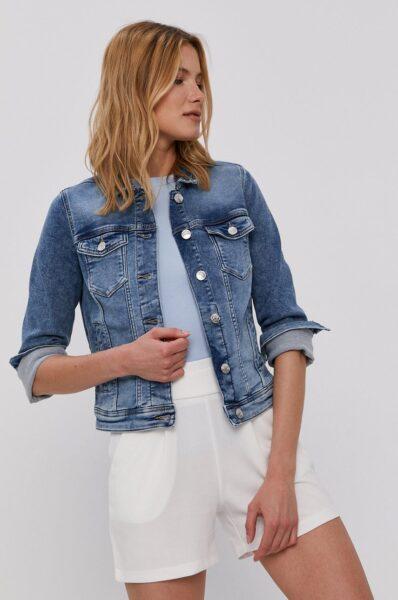 Only - Geaca jeans, Albastru, Fason drept, Buzunare oblice, Buzunar pe piept