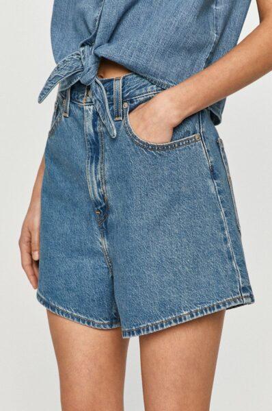 Levi's - Pantaloni scurti jeans, Albastru deschis, Fason drept, Buzunare oblice, Talie inalta