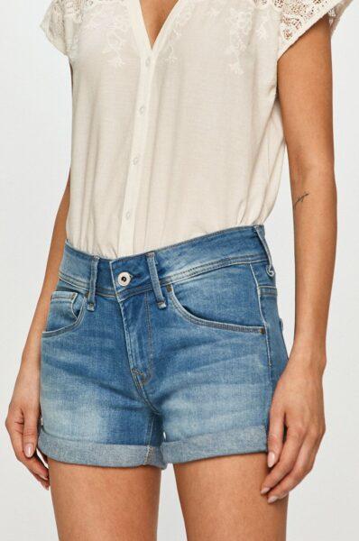 Pepe Jeans - Pantaloni scurti jeans Siouxie, Albastru, Fason drept, Talie regulata, Incheiere cu nasture si fermoar