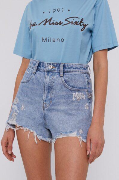 Miss Sixty - Pantaloni scurti jeans, Albastru, Fason drept, Buzunare oblice, Talia inaltata