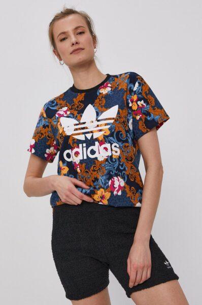 adidas Originals - Tricou, Multicolor, Decolteu rotund. Fason drept, Tricot ornamentat