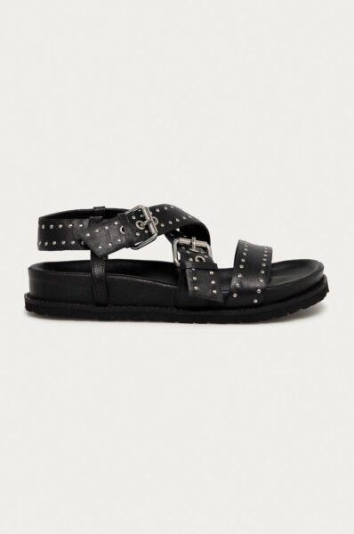 Answear Lab - Sandale de piele din colectia aniversara, Negru, Talpa din guma, Interior din piele, Model cu toc plat