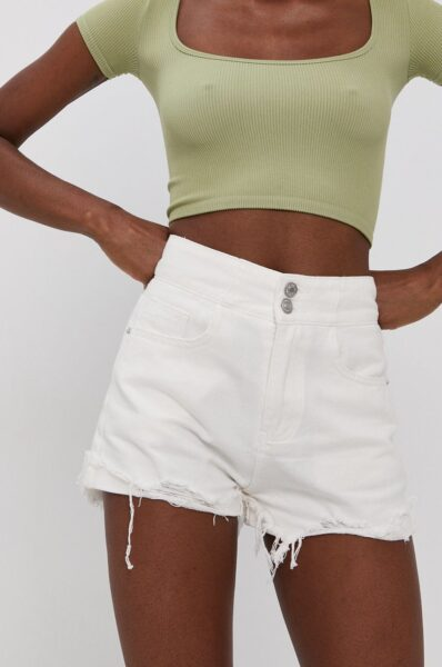 Answear Lab - Pantaloni scurti jeans, Fason drept, Talia inaltata, Incheiere cu nasture si fermoar