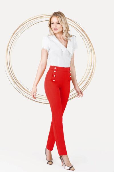Pantaloni PrettyGirl rosii office conici cu talie normala si buzunare cu perle, Material subtire