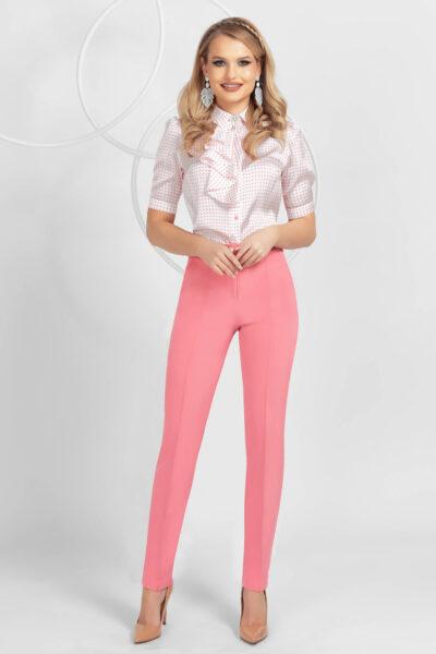 Pantaloni PrettyGirl roz conici din material usor elastic cu talie medie, Material usor elastic